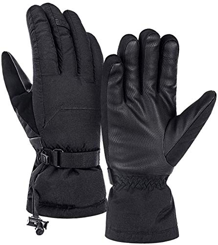 Xtrxtrdsf Winterhandschuhe, wasserdichte Fahrradhandschuhe for Männer Frauen Thermal Flexible Leichte Anti-Rutsch-Outdoor-Sportgeräte (Color : Black, Size : Large)