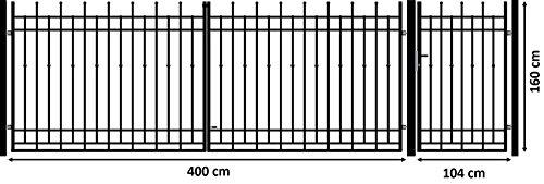 Luxus4Home Nizza 5,30m Doppelflügeltor Set Durchfahrt 4,0m inkl. Pforte 1,04m exklusive Gartenzaunelement Komplett-Set inkl. 2 Torflügel, 3 Pfosten, 1 Pforte mit Beschlag, Anschlag und Schloß