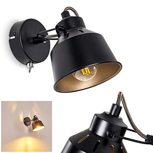 Applique Safari en métal noir et or, spot mural avec interrupteur intégré, pour une ampoule E14, max 40 Watt, compatible ampoules LED