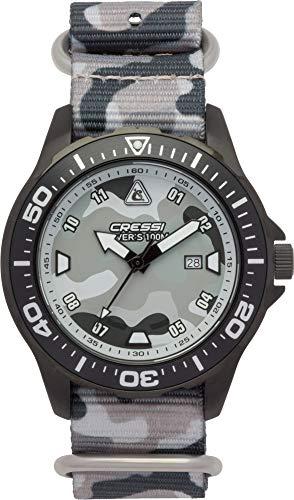 Cressi Manta Watch Reloj Submarino, Negro/Grigio Camou/Correa Tejida Grigio Camou, Uni