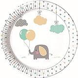 PROCOS 90493 - Platos de cartón para Fiestas (8 Unidades), diseño de Elefantes, Color Blanco