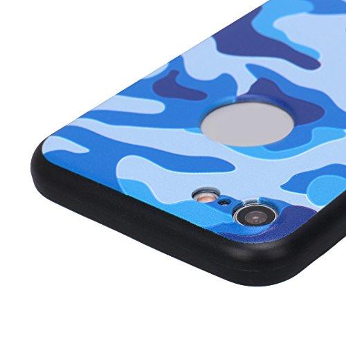 Coque iPhone 7/8 Hybride Case, Moon mood® 360 Degres Protector Housse en Plastique PC Rigide + Souple TPU Bumper Arrière Étui pour Apple iPhone 8 Coque de Protection Antichoc Couverture Ultra Mince Ca Camouflage bleu