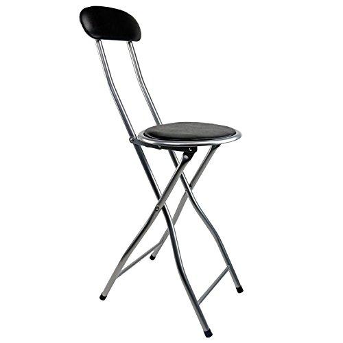 Oypla Noir rembourré Chaise haute pliante Petit déjeuner Cuisine Tabouret de bar Siège