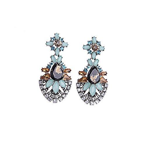 JunBo Stilvolle Ohrringe mit luxuriösen eingelegten Zirkon Blumen -