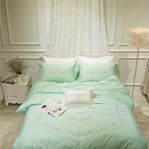 MIJIA Blau grün weiß bestickte ägyptische Baumwolle seidige Bettwäsche-Sets Königin König Tröster Bettbezug Bettwäsche-Set,Grün,Queen5pcs -