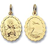 9ct Gold Oval Double Sided St Christopher Pendant On A Belcher Necklace