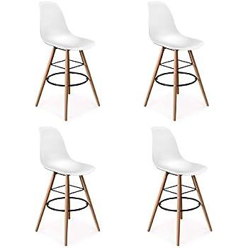 Idmarket Lot De 4 Tabourets De Bar Design Scandinave Blanc Amazon
