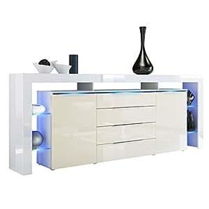 sideboard kommode lima nova v2 korpus in wei matt front in creme hochglanz vladon amazon. Black Bedroom Furniture Sets. Home Design Ideas