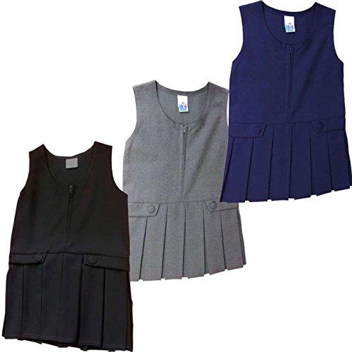 Schule Uniform Pini Latzschürze Kleid Plissee vorne schwarz grau navy blau TOP Qualität, grau, 9-10 Jahre (Kleid Navy Uniform)