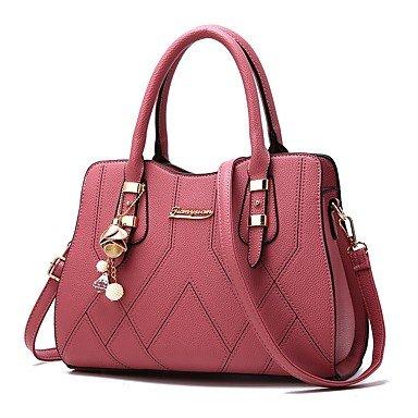 Damenmode PU Leder Plaid Schulter Messenger Crossbody-tasche/Handtasche Tote Dark Red