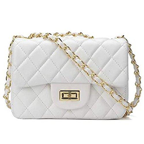 Preisvergleich Produktbild liyuan Damen Handtaschen Crossbody Taschen Kette Schultertaschen Fashion Mini Bags (White1, OneSize)