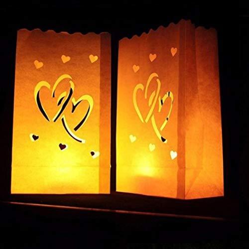 Ledmomo 12pcs hollow out lanterna di carta luminare borse a mano candela tea light day bag san valentino decorazioni per camera da letto festa di nozze (double hearts)