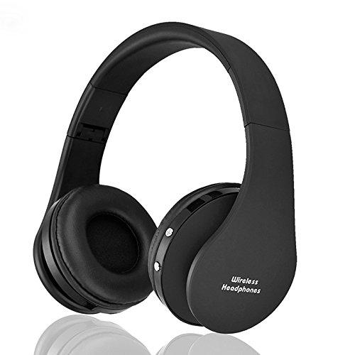Soviton Stereo Kopfhörer Wireless Bluetooth Kopfhörer Headset mit Mikrofon MP3-Player microSD/TF Musik FM Radio Freisprecher für Smartphones Tablet PC Notebook Schwarz