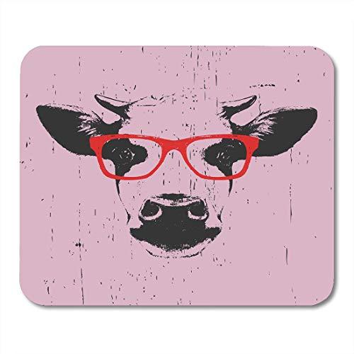 Luancrop Mauspad Kopf Porträt der Kuh Brille lustige Sonnenbrille Bauernhof Skizze Mousepad für Notebooks, Desktop-Computer Mauspads, Bürobedarf