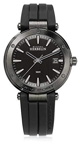 Michel Herbelin | Herren Newport | schwarzes Kautschukband | schwarzes Zifferblatt | 12288/G33CA