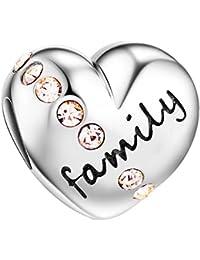 Tinysand - 925 Pur Argent Famille Lettres Coeur Charm, Compatible avec Bracelets Pandora,cadeau idéal pour la fete des meres