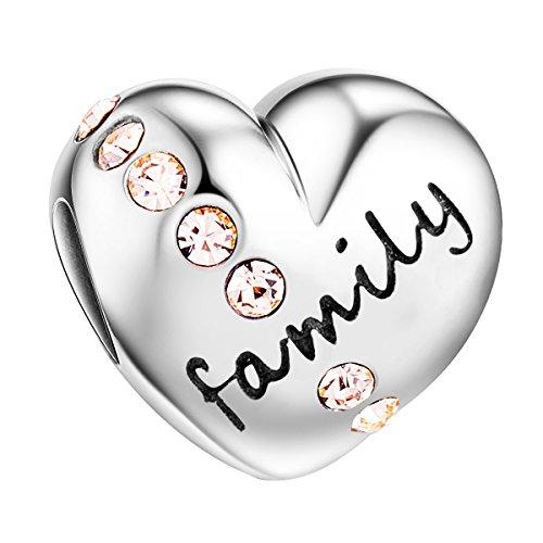 Tinysand bead charms in argento sterling 925 famiglia ciondolo a forma di cuore con cristalli rose per bracciale pandora