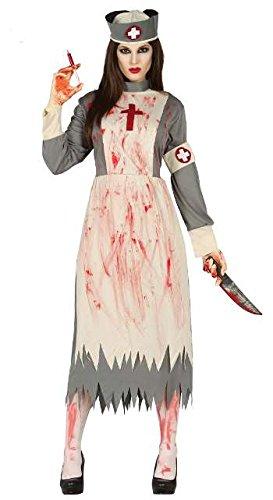 Gespenst Kostüm Damen - gespenstische Krankenschwester Geister Damen blutiges Halloween Geist Gespenst Horror Kostüm Gr. M-L, Größe:L
