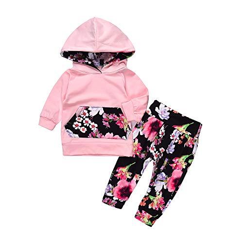 Sunday Baby Kleidung Mädchen Kleinkind Blumen Hoodie Oberseiten Hosen Outfits Set 2pcs Baby Kleidung Set Mädchen Kleidung Outfits 6-24 Monate (6-12M, Rosa-2)