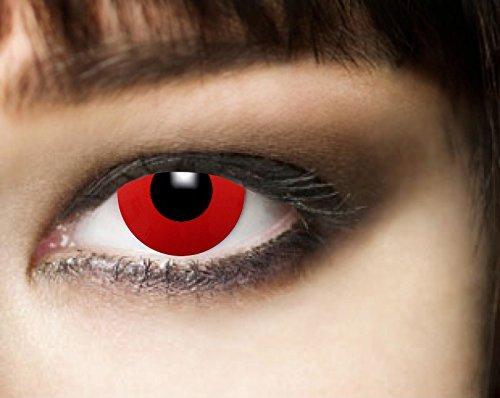 (3-Monatslinsen, RED DEVIL, Halloween Kontaktlinsen, PAAR, Funlinsen, Vampir, Zombie, rot)