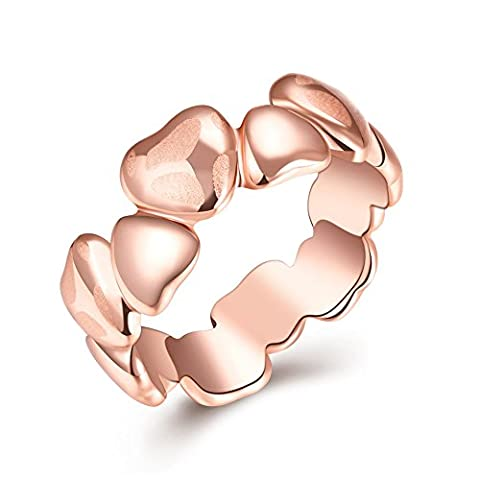 Thumby Tin Alloy Titanium Plated 6.5g Trendy Heart Ring for Women,Gold,Resizable