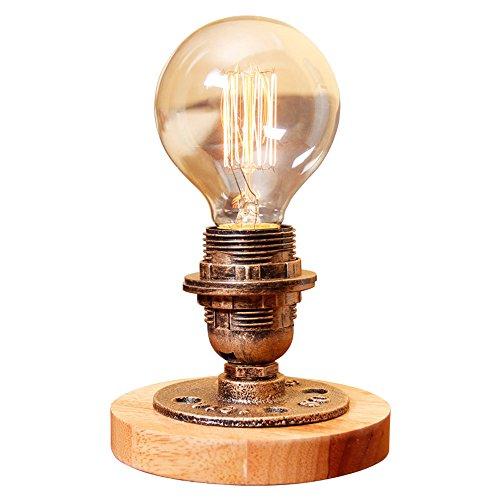Lithx Steampunk Fer Forgé E27 Edison Table Lumière Pipes D'eau Lampe de Table Base En Bois Massif Avec Variateur Commutateur Chambre Salon Lampe De Chevet Lampe De Bureau Classique
