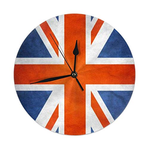 Hectwya Wanduhr Silent Non Ticking,British Flag (4) Clock for Home Bedroom Office Diameter 9.84