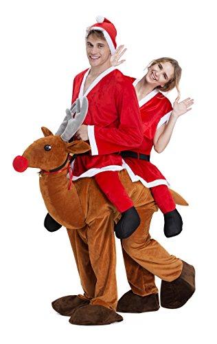 Carry Me Kostüm Unisex Weihnachten Lustig Fancy Dress Santa Schneemann Party Weihnachtsmann Kostüm Erwachsene für Weihnachten Karneval (Zwei Santa)