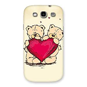 Gorgeous Cute Heart Twin Teddy Back Case Cover for Galaxy S3