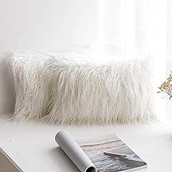 MIULEE Lot de 2 Housse de Coussin de Canapé en Fausse Fourrure Deluxe Décoratif Maison Chambre Lit Super Doux Peluche Mongolie Taie d'oreiller 30x50cm Blanc