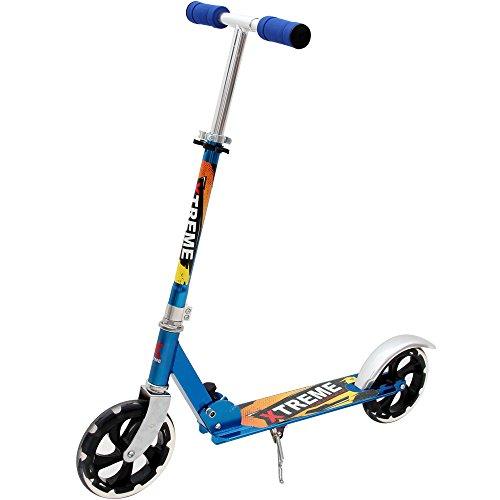Deuba Scooter Roller Tretroller Cityroller | Aluminium-Lenker Roller | inkl.Seitenständer | ABEC 9 Lager & PU-Rollen | klappbar | 200mm | höhenverstellbar | blau - Kickroller Trittroller