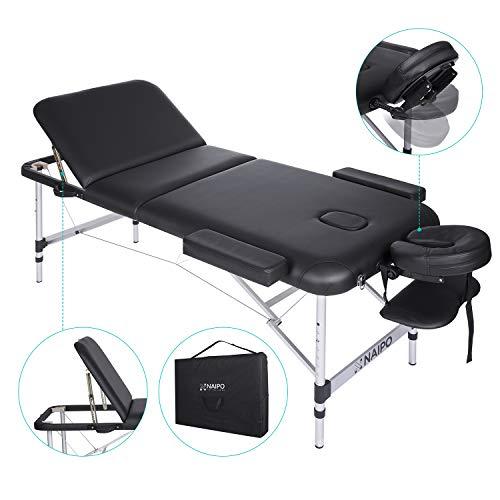 Naipo Deluxe 3 Zonen mobile Massageliege Massage Kosmetik Bank Ttisch klappbar höhenverstellbare Aluminiumfüße (bis 270kg belastbar)
