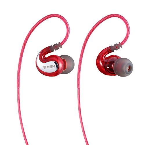 BASN G1Kopfhörer mit Mikrofon für Sport und Laufen, Geräuschreduktion, für Apple iPhone, iPad, iPod und Samsung Galaxy, HTC, Android Handys, Rot