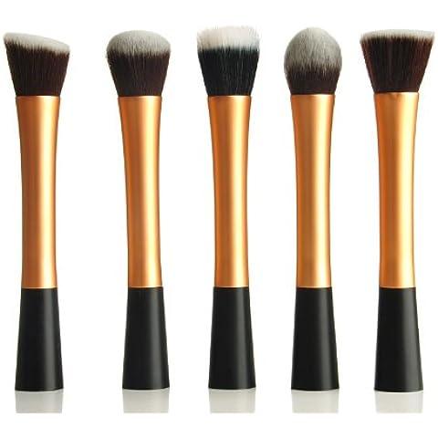5 Pincel Brocha Maquillaje conjunto de cepillos Brocha Sombra Blush Corrector Fundación Maquillaje pinceles cosméticos Profesional Kit de Maquillaje + Funda para Maquillar Cosmético