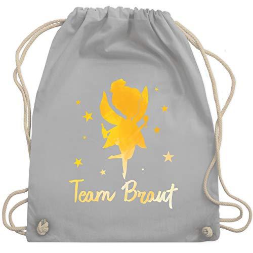 JGA Junggesellinnenabschied - JGA Fee - Team Braut - Unisize - Hellgrau - WM110 - Turnbeutel & Gym Bag (Tasche Fee Mädchen Kostüm)