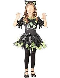 Kostüm Kitty Kyra Kinderfasching Kleid schwarz -grün Haarreif Katzenkostüm Katze (7- 9 Jahre (Gr. 122- 134))