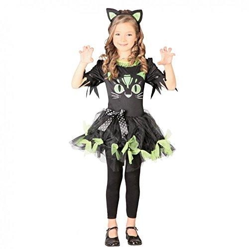 Katzen Für Kostüm Kitty - Kostüm Kitty Kyra Kinderfasching Kleid schwarz -grün Haarreif Katzenkostüm Katze (4- 6 Jahre (Gr. 110/116))