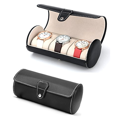 autoark-leatherette-roll-travelers-watch-storage-organizer-for-3-watch-and-or-bracelets-blackaw-u06