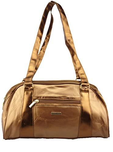 Stefano Damen Baguette Handtasche Leder Patch Design Schultertasche 36/21/14cm (Bronze)
