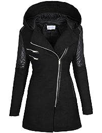 Abrigo cálido de lana tejida y piel sintética para mujer B270