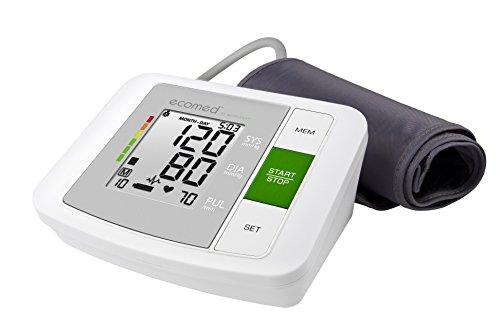 Ecomed BU-90E Oberarm-Blutdruckmessgerät 23200, mit Arrhythmie-Anzeige, WHO-Ampel-Farbskala, für eine präzise Blutdruckmessung und Pulsmessung mit Speicherfunktion