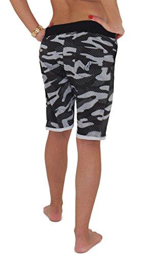 REDRUM   Damen   Bermuda Shorts   kurze Hose   Jogginghose   Sweatshorts   Militär   Camouflage   Freizeitmode für den Partnerlook   Größe XS - 3XL   6 Trendige Farben Camo Schwarz