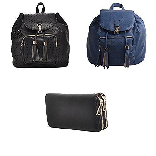 Mechaly , Damen Rucksackhandtasche Black Backpack, Blue Backpack & Double Zip Wallet
