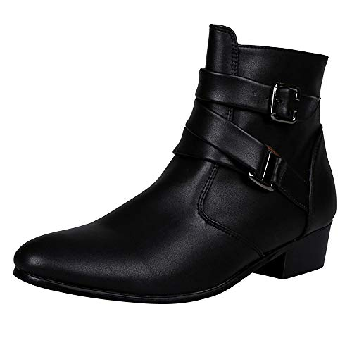 BaZhaHei Men Work Boots Pointed Toe Motorcycle Martin Boots Western Martin Chelsea Ankle Boots Zipper Shoes with Buckle Strap Ankle Short Boots Size 6.5-12