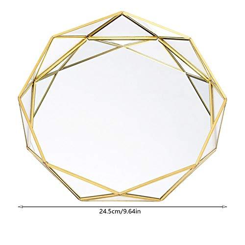 franktea Schmuck Tablett Geometrische Runde Glasplatte Kosmetische Schmuckablage Nordic Ins Golden Western Cake Dessertteller Für Eitelkeit, Kommode, Bad, Schlafzimmer (Parfüm Spiegel Fach)