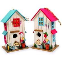 Small Foot by Legler Casitas con adornos detallados para pájaros, acogedor hogar para pájaros cantores