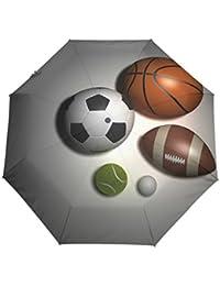 Bennigiry Paraguas Deportivo de 3 Pliegues con Cierre automático, Compacto, Resistente al Viento,