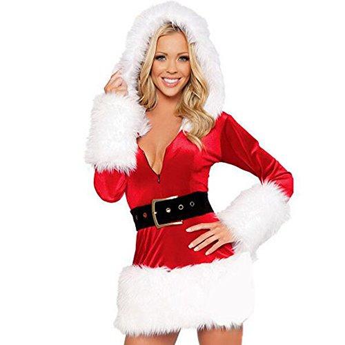 Für Erwachsene Santa Sexy Kostüme (BOZEVON Damen Kapuzen Santa Sexy Weihnachten Weihnachten Fräulein Festliche Kostüm Outfit)