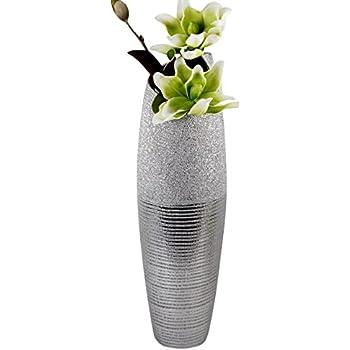 moderne deko vase bodenvase aus keramik in silber h he 60 cm. Black Bedroom Furniture Sets. Home Design Ideas