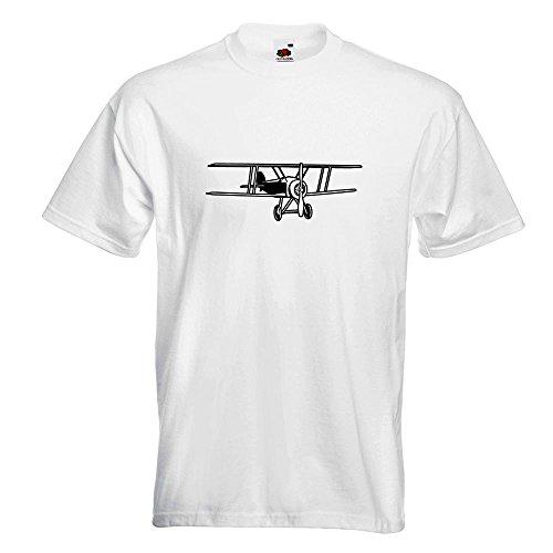 KIWISTAR - Doppeldecker Flugzeug T-Shirt in 15 verschiedenen Farben - Herren Funshirt bedruckt Design Sprüche Spruch Motive Oberteil Baumwolle Print Größe S M L XL XXL Weiß
